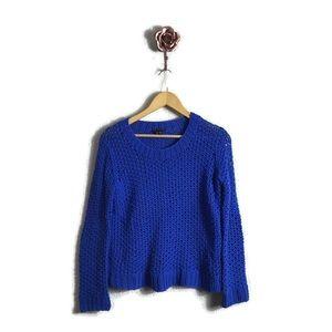 Theory Wool Blue Scoopneck Open Knit Sweater